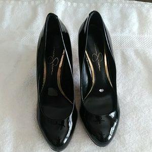 Jessica Simpson Abriana Black Leather heels-Sz 6.5